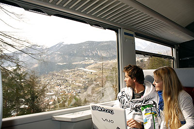 Train travel to Alps scenery